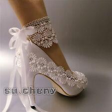 """3"""" 4"""" heel white ivory satin lace ribbon open toe Wedding shoes bride size 5-11"""