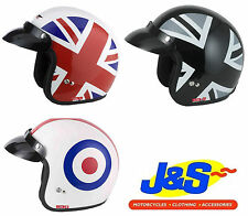 V CAN V500 OPEN FACE MOTORCYCLE HELMET MOTORBIKE MOD UNION SCOOTER HELMET J&S