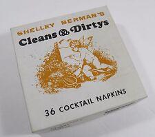 VINTAGE 1966 SHELLEY BERMAN'S CLEANS & DIRTYS 35 COCKTAIL NAPKINS W/BOX MONOGRAM