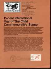 USPS 1979 First Day Issue Souvenir Page, 15-cent International Year of the Child