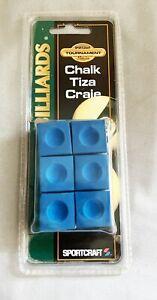 Billiards Chalk Tiza Craie Pool Cue Sportcraft 6 Piece Tournament Ser Blue New