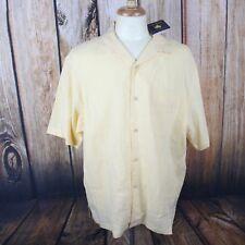 Nat Nast Men's Large 100% Linen NEW Luxury Originals Button Down Shirt Yellow