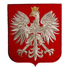 VEGASBEE® POLAND EAGLE POLISH RED SHIELD POLSKA CREST SILVER EMBROIDERED PATCH