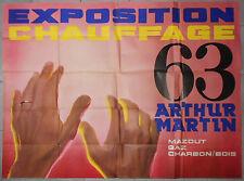 Affiche ancienne ARTHUR MARTIN Exposition Chauffage Mazout Gaz Charbon Bois 1963