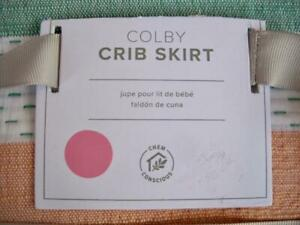 """Pottery Barn Kids Colby Crib Skirt NWT Multi-Color Striped Cotton 28""""x52""""+16"""""""