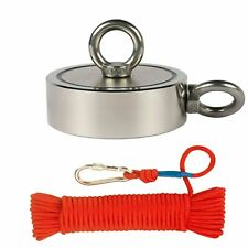 Upto 3000Lbs Pull Force Double Sided Fishing Magnet w/ Rope & Carabiner!
