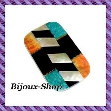 Cabochon nacre, turquoise and stone 7.1 Cm