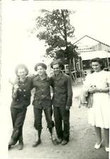 vintage WWII military US ARMY photo 3 young soldier buddies & a young girl happy