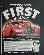 1940 red Chevrolet first again car General Motors leader ad