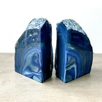 Blue Agate Bookends A Quality Quartz Crystal Geode Center Book End Mineral