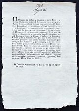 1808 Pamphlet Announcing End Napoleon Occupation of Portugal