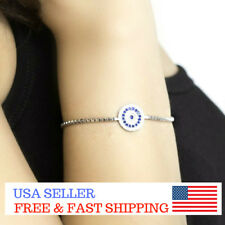 925 Sterling Silver Blue Evil Eye Protection Turkish Tennis Bracelet CZ Gift Her