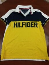 Tommy Hilfiger Mens Vintage Pullover Polo Color Block Spellout Size S Custom Fit