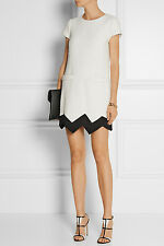 COMIC-CON: Moschino Cheap & Chic £650 B&W Zig Zag ourlet robe Mini IT42/UK10