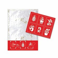 6 Christmas Festive Paper Stencils Spray Xmas Tree Santa Angel Snowman Window BN