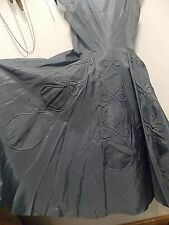 1950s Era Gray Taffeta Full Skirt Dress with Attached Slip Piping Detail