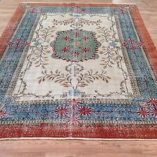 "9' 3"" x 6'9"" Vintage brick blue green oushak vintage rug carpet tapis teppich"