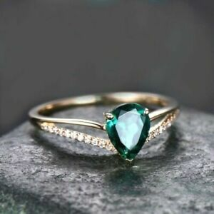 925 Sterling Silver Gold Plated Natural Colombian Emerald Pear Shape Cut AD Ring