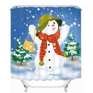 Snowman Looks At  Snow 3D Shower Curtain Polyester Bathroom Decor  Waterproof
