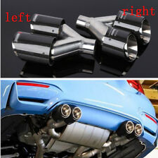 1Pair Auto Car 63-89MM Exhaust Tip Glossy Carbon Fiber Tail Throat Muffler Pipe