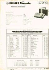 Philips Plattenspieler 22GF100 Schaltplan Manual 1967 Original   GF100