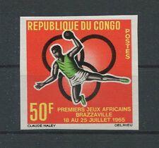 CONGO AFRICAN-GAMES 1965 UNGEZÄHNT HANDBALL SPORTS IMPERF NOT DENTELE RARE h1282