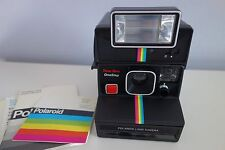 Vtg POLAROID OneStep Instant Land Camera SX-70 Rainbow + Q-Light Flash 2351