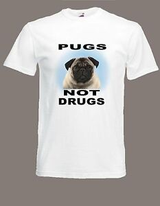 Pugs Not Drugs T-Shirt Russell Howard Inspired sizes Size S to XXL