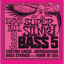 Ernie Ball 2824 Super Slinky BASS Nickel Wnd Guitar Strings 40-125  5-string set