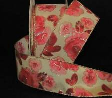 """5 Yards Red Pink Roses Gold Accented Cream Wired Ribbon 2 1/2""""W"""