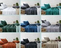 Flat Fitted Bed Sheet Sets Pillowcases Single/King Single/Double/Queen/King Bed