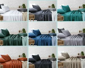 King Single/Double/Queen/King Bed Sheet Sets (Flat, Fitted, Pillowcases)