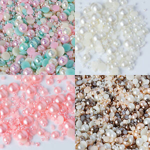 Colorful Flat Back Pearls Rhinestones Embellishments Face Gems Craft Card Making