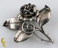 Vintage Sterling Silver Baur ING Rose Leaf Thorn Flower Brooch