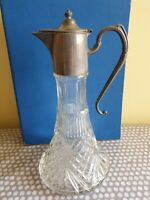 Vintage Cut Glass Ship's Decanter With Silver Pewter Lid & Handle.