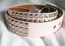Ladies Pink Punk Studded Belts Silver studs. punk 80s rocker PU slight 2nd