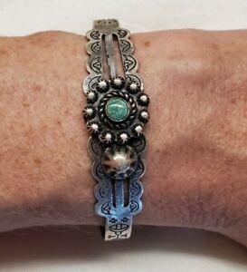 Vintage Fred Harvey Era Turquoise Sterling Silver Navajo Cuff Bracelet 13.6 Gr
