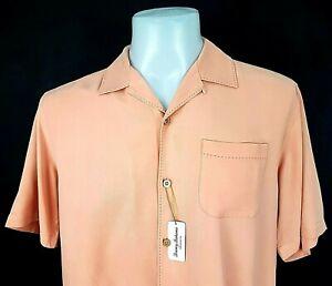 "TOMMY BAHAMA Mens Pale Orange 100% Silk S/S SHIRT Ultrasoft - S - 42"" - RRP £79"