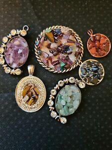 Vintage & Modern Semi Precious Crystals Pendants x6 VGC Amethyst Tigers Handmade