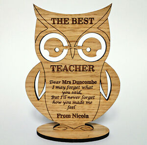 Personalised Teacher's Gift Owl Stand The Best Teacher Thank You Pre School