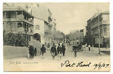 1907 EGYPT PORT SAID AVENUE DE LESSEPS VINTAGE POSTCARD