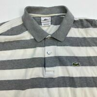Lacoste Polo Shirt Mens Size 10 Short Sleeve White Gray Striped Logo Embroidered