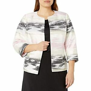 Kasper Long Sleeve Graphic Jacquard Cardigan Jacket, Tutu Pink Multi, 18W