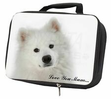 Samoyed Dog 'Love You Mum' Black Insulated School Lunch Box Bag, AD-SO73lymLBB