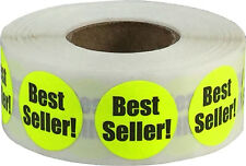 Fluorescent Yellow Best Seller Circle Stickers, 3/4 Inch Round Labels, 500 Total