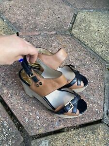 Michael Kors Black And Brown Leather Sandals, Size Uk5/38