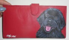 Black Newfoundland Dog Hand Painted Red Genuine Leather Checkbook Cover Case