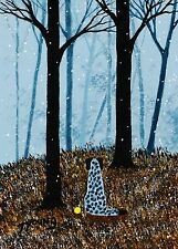 Catahoula Leopard Dog Winter Forest Large Folk Art Print Todd Young First Snow