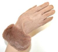 GUANTES BEIGE mujer piel sintética gamuza elegante invierno luvas guants beix G8