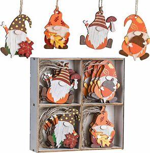 24pcs Gnome Fall Decor, Wooden Hanging Tree Ornaments Gnomes Autumn Decoration
